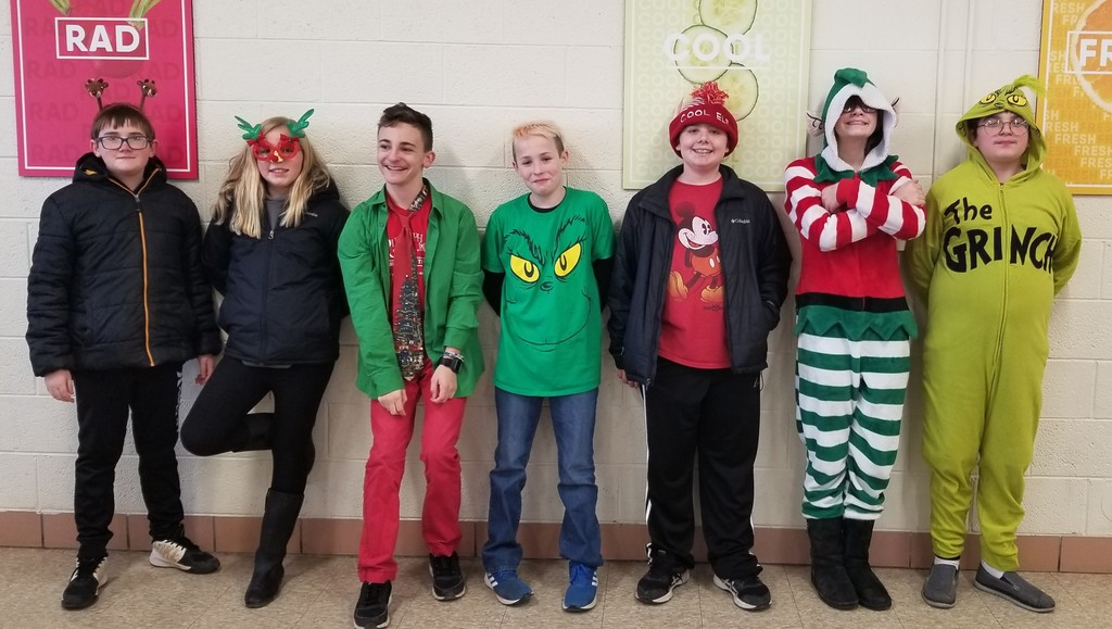 6th grade students at lunch. (Holiday Character Day)