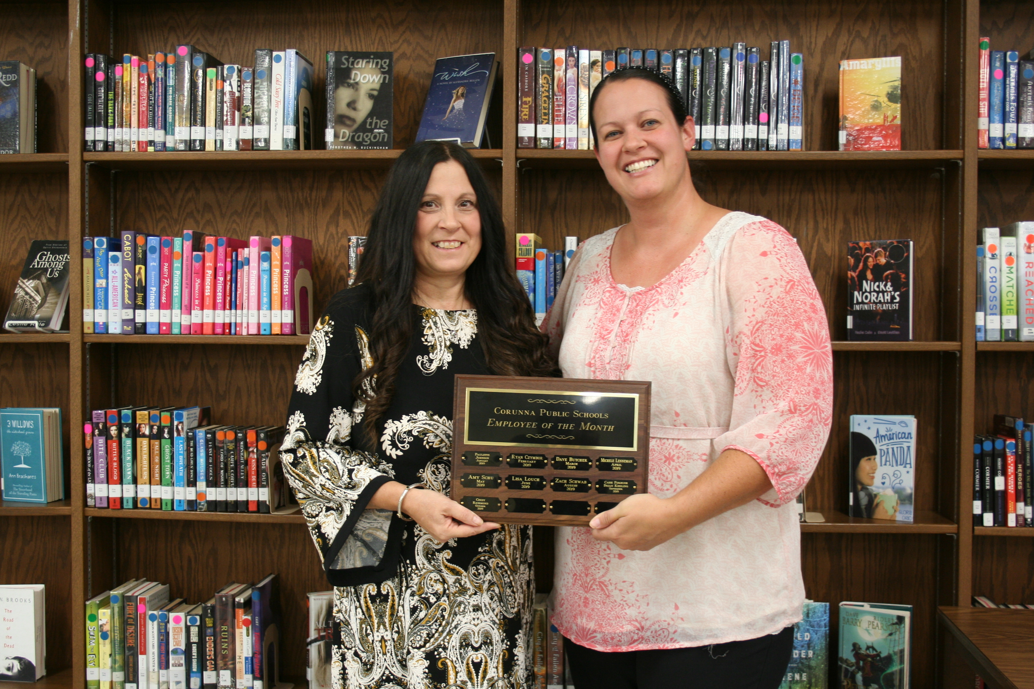 October Employee of the Month Cindy Richmond (left) with Board Trustee Sara Beldyga